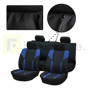 New Durable Universal Blue Black Mesh Cloth Car Seat Covers W 4 Head Rest Covers
