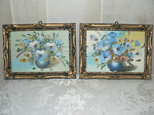 Pair Of Vintage Ornate Plastic Frames With Picture Of Blue Foral Pots And Flower