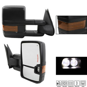 Left Right For 2003 06 Chevy Silverado Sierra Power Heated Led Signal Tow Mirror