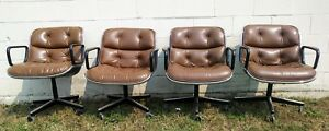 4 Mid Century Charles Pollock Office Chairs By Knoll Brown Leather