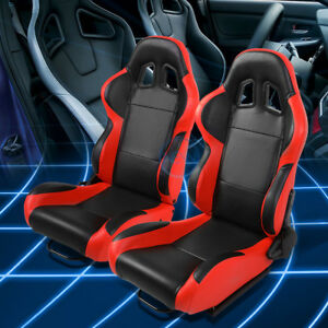 Black red Reclinable Pvc Leather Type r Sport Racing Seats W universal Sliders