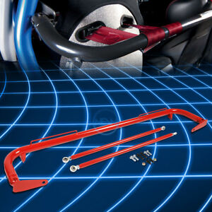 49 Universal Racing Seat Belt Harness Bar Adjustable Chassis Support Rod Red