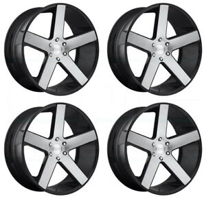 24x10 Dub Baller S217 6x5 5 6x139 7 30 Black Machined Wheels Rims Set 4