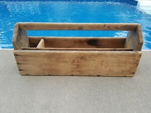 Old Vintage Antique Large Wooden Carpenters Tool Box Primitive Carrying Caddy