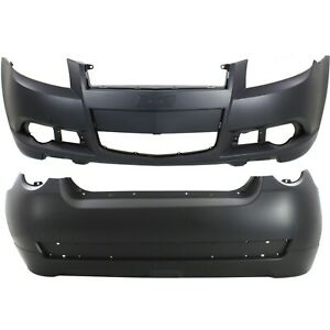 New Set Of 2 Bumper Covers Facials Front Rear For Chevy Chevrolet Aveo5 Pair