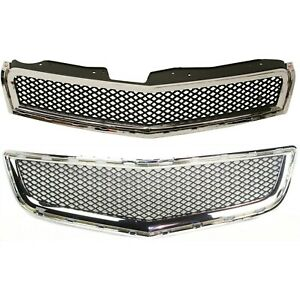 New Set Of 2 Grille Grill Upper Chevy Chevrolet Traverse 2009 2012 Pair