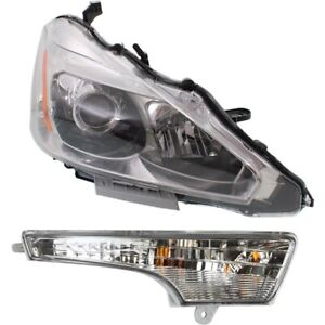 Headlight Kit For 2013 2015 Nissan Altima Right 2pc