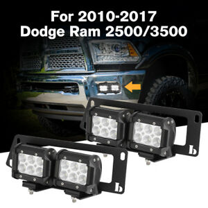 For 2010 2017 Dodge Ram 2500 3500 4x 18w Led Fog Light Pod bumper Mount Bracket