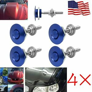 4 Blue Universal Push Button Billet Hood Pins Lock Clip Set Car Quick Latch