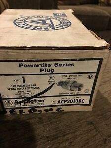 Appleton 30 Amp Powertite Plug Acp3033bc 3 Wire 3 Pole 30 Amp 600 Volt A C