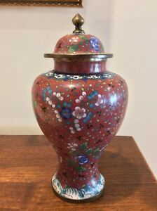 Vintage Chinese Cloisonne Ginger Jar 8 Iron Red Blue