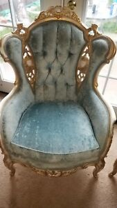 Blue Antique Wingback Chairs