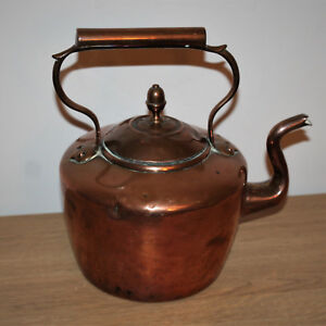 Antique Vintage Large Copper And Brass Kettle