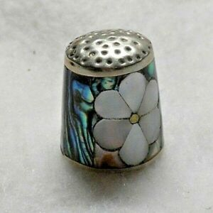 Vintage 925 Sterling Silver Abalone Mother Of Pearl Daisy Flower Thimble