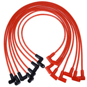 8x 8mm Red Spark Plug Wires For Hei Male Gm Chevy Over Valve Covers 265 305 327