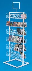 Floor Cd dvd Display Rack Double sided 6 Tiers Per Side white