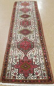 Persian Karajeh Tribal Hand Knotted Wool Ivory New Runner Oriental Rug 2 5 X 10