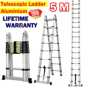 5m Multi purpose Aluminium Telescopic Fold Ladder Extension Combination 330lbs