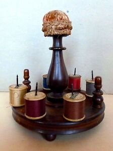 Sewing Caddy Thread Holder Wood Treenware Antique Collectable English C 1890