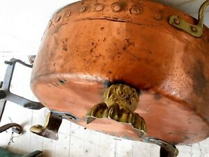 Antique Copper Caldron Large Mission Era Arts And Crafts Solid Copper Kettle