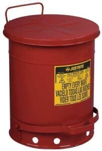 Justrite 10 Gal Oily Waste Can Disposal Rags Steel Container Safe Foot Lift Osha