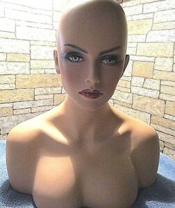 Fiberglass Female Mannequin Head Bust For Wig jewelry Hat Display With Wig
