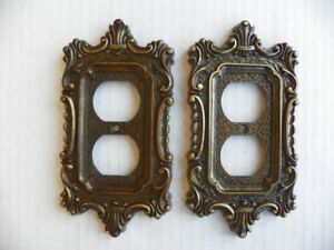 Vintage National 1970 S Duplex Outlet Recptacle Plate Cover Antique Gold