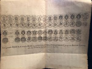 Antique English Document 1700 S Of Englishn Monarchs Great Seals