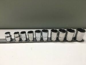 Snap On 10 Pc 3 8 6 Pt Metric Shallow Socket Set 10 19mm