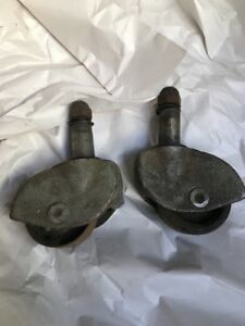 2 Vintage Casters Antique Cast Iron Metal Industrial 2 25 Diameter 5 Tall