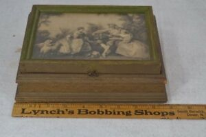 Box Sewing Jewelry Lift Top Mirror Renaissance Scene Original Victorian Antique