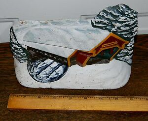 Vintage Cast Iron Covered Bridge Winter Snow Scene Hubley Doorstop 149 Clean