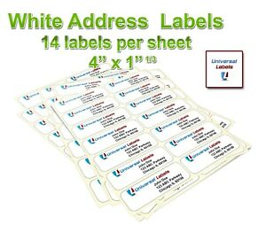 14 Labels Per Sheet 4 X 1 1 3 Address Label Premium Quality Made In The Usa