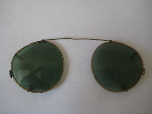 Antique Gold Brass Frame Green Spectacles Sun Glasses Steampunk Wire Pince Nez