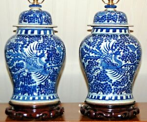 Chinese Blue White Ginger Jar Lamps Phoenix Vases Porcelain Canton 1 Or Pair