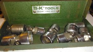 Sk Tools 1 4 Drive 6 Point Universal Swivel Socket Lot W Metal S k Box Adapters