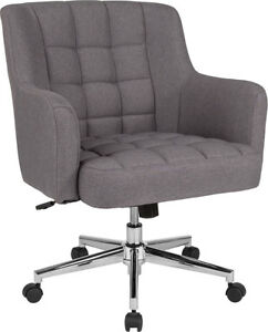 Laone Home And Office Upholstered Mid back Chair In Light Gray Fabric