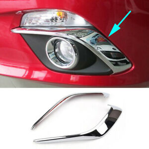 Chrome Front Fog Light Lamp Cover Trim Eyelid Molding Strip For Mazda 3 M3 Axela