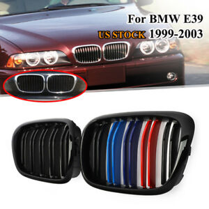 Pair For Bmw 5 Series E39 M5 1997 2003 Gloss Black M color Kidney Grille Grill