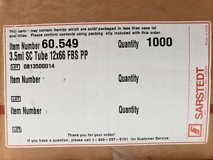 1000 Sarstedt Plastic Lab Test Tubes With Cap 66 X 11 5 Mm 3 5ml 60 549