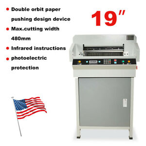 Heavy Duty Automatic 19 Electric Paper Cutter 480mm Cutting Machine Us Stock