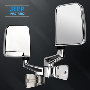 Side Mirror Kit Chrome For Jeep Wrangler 1987 2002 With Mount