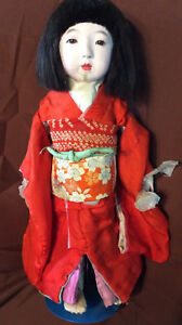 Vintage Gofun Japanese Ichimatsu Doll 17 Glass Eyes Circa 1920s