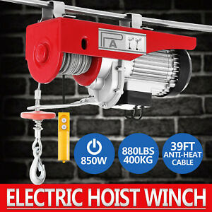880lbs Electric Hoist Winch Lifting Engine Crane Pulley Automotive Hanging