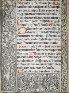 Book Of Hours Leaf Vostre Horae Border Centaur Griffon Hare Grapes Paris 1501