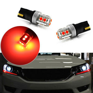 2x Brilliant Red Led Lights Fit For 2013 2015 Honda Accord Headlight Strip Bulbs