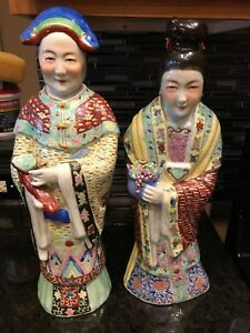 Antique Early Chinese Republic Porcelain Figurines Emperor Empress
