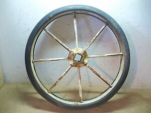 Pair Of Old Farm Implement Wheels Soil King 22 Diameter