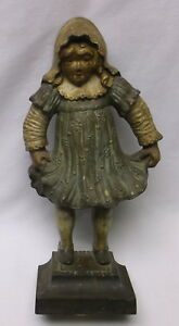 Antique Bradley Hubbard B H Girl Holding Dress Doorstop Castiron