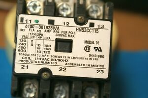 Products Contactor 3100 30t928wa 30 Amp 3 Pole 120 800 Vac Coil Mode
